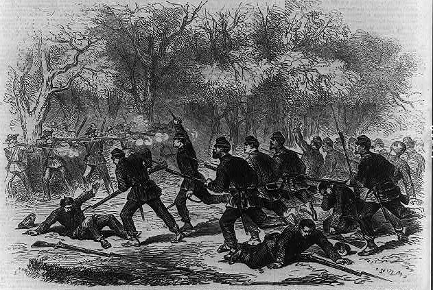 The 15th Massachusetts launch a bayonet charge against Confederate troops.  (Library of Congress)