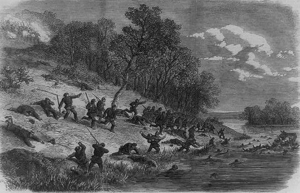 Union soldiers are shot down along the bank of the Potomac as they attempt to retreat across the river from the battlefield.  (Library of Congress)
