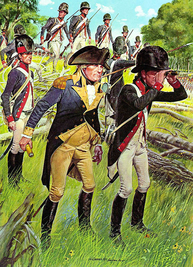 The American Soldier, 1794, by H. Charles McBarron. Major General Anthony Wayne is pictured in the center.  (U.S. Army Center of Military History)