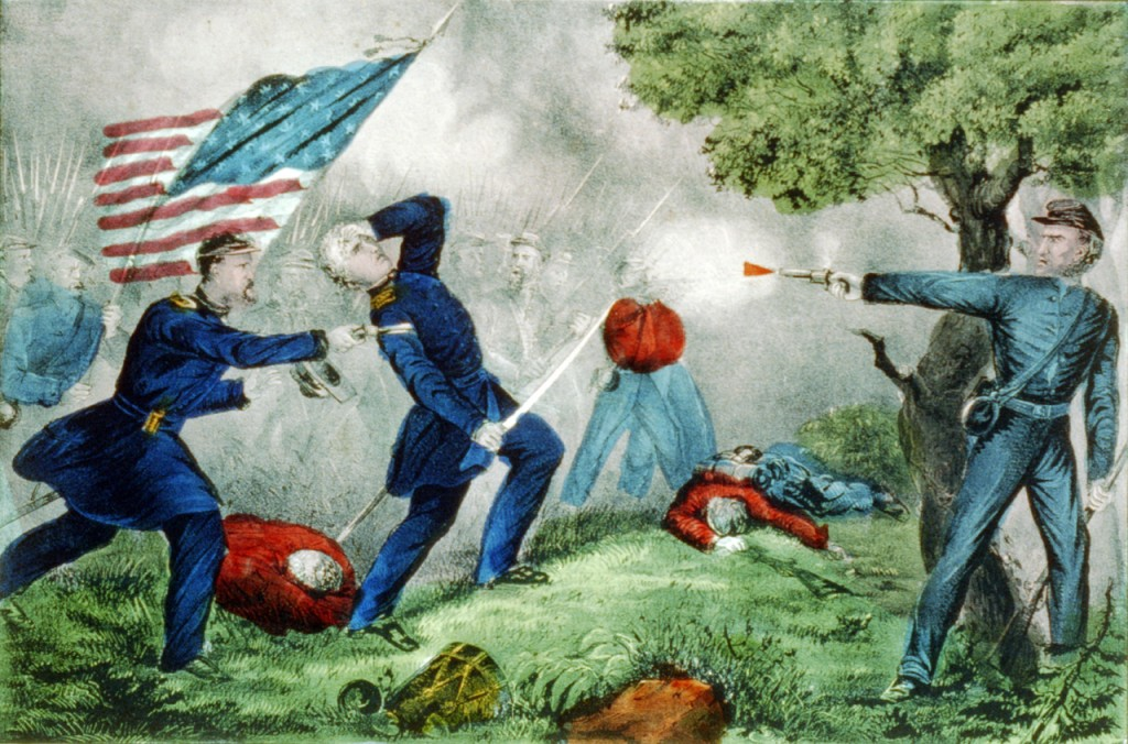 Death of Col Edward D. Baker: At the Battle of Balls Bluff near Leesburg Va. Oct. 21st 1861, by Currier and Ives  (Library of Congress)