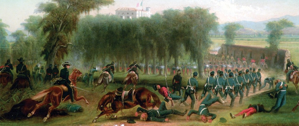Major General Gideon Pillow's division attacks the Mexican strongpoint at Chapultepec during Major General Winfield's Scott's final drive on Mexico City, 13 September 1847, as depicted in James Walker's 1848 oil on board, Pillow's Attack Advancing Through the Woods of Chapultepec. (Army Art Collection)