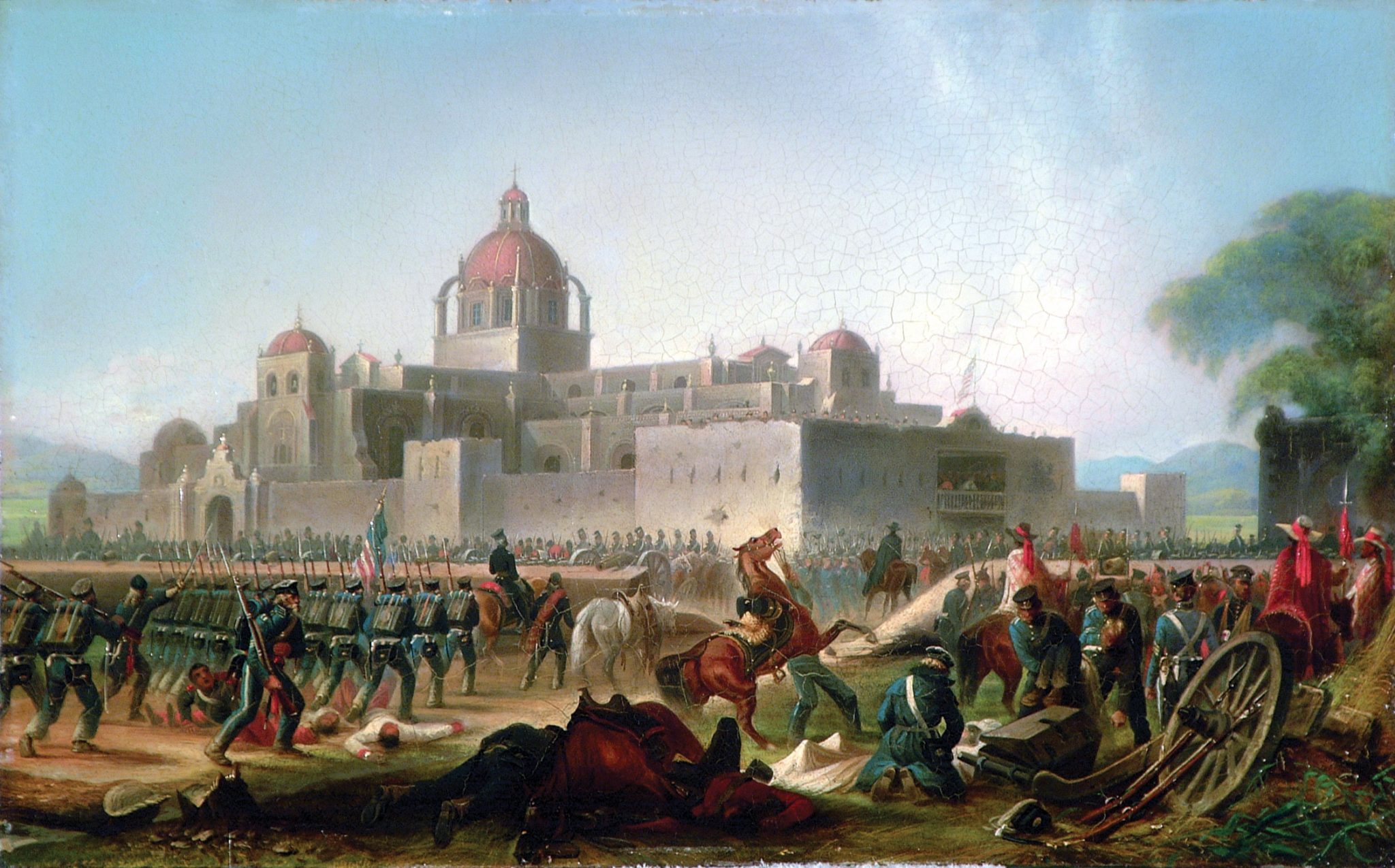 American infantry, led by the 3d Infantry Regiment, march forward against Mexican forces who have taken up positions in a convent during the bloody Battle of Churubusco, 20 August 1847, in James Walker's 1848 oil on board, Convent at Churubusco. (Army Art Collection)