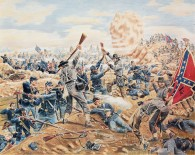 """""""Recapture the Crater"""" Battle of the Crater, Petersburg, Va. July 30, 1864,"""" by Henry Kidd."""