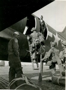 17th Airborne paratroopers board a C-46 Commando transport that will drop them over the east bank of the Rhine River during Operation VARSITY, 24 March 1945. (National Archives)