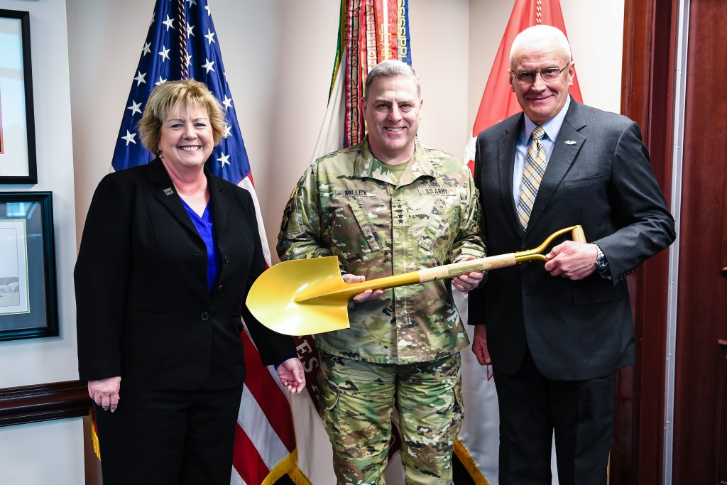 Army Historical President LTG Roger Schultz (USA-Ret.) and Director of the National Museum of the United States Army Tammy Call yesterday presented @GenMarkAMilley with the shovel used at the Museum  groundbreaking ceremony.