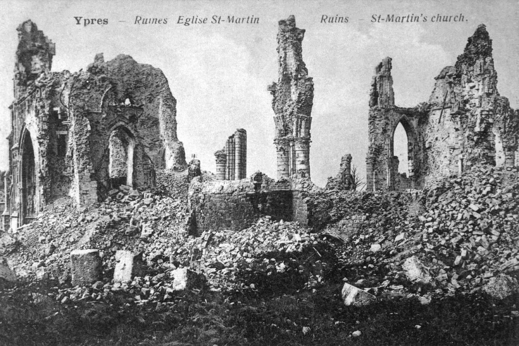 Ruins of St. Martin's Church in Ypres, Belgium, ca. 1918. (War Dept.) EXACT DATE SHOT UNKNOWN NARA FILE #: 165-FC-13-1 WAR & CONFLICT BOOK #: 696