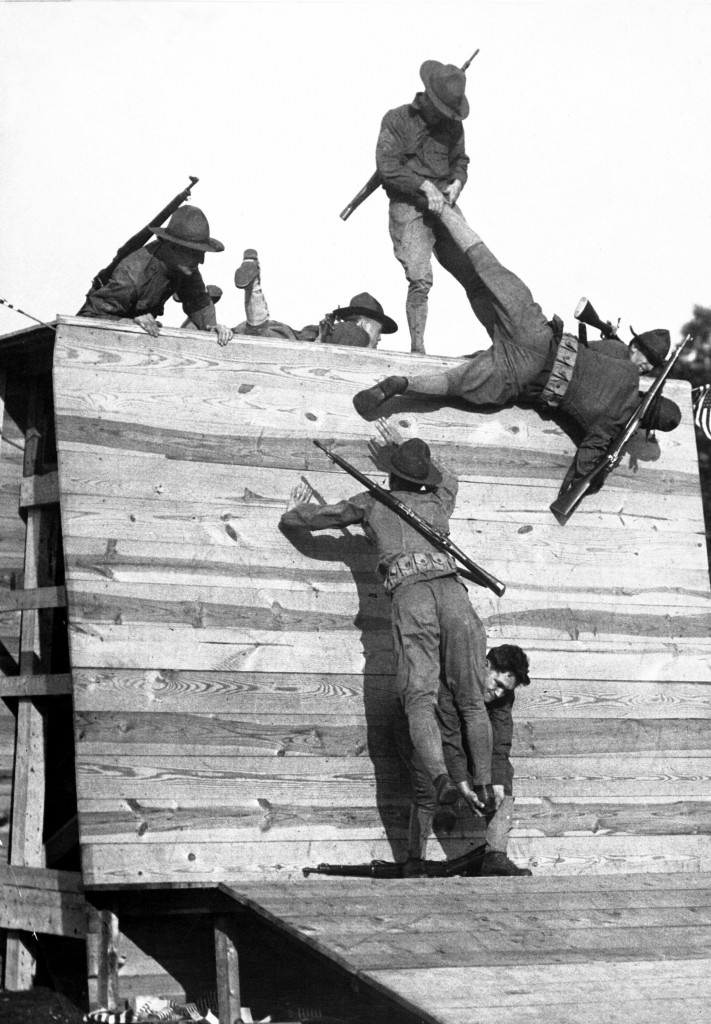 Wall scaling at Camp Wadsworth, S.C. Ca. 1918. Paul Thompson. (War Dept.) Exact Date Shot Unknown NARA FILE #: 165-WW-151B-8 WAR & CONFLICT BOOK #: 448