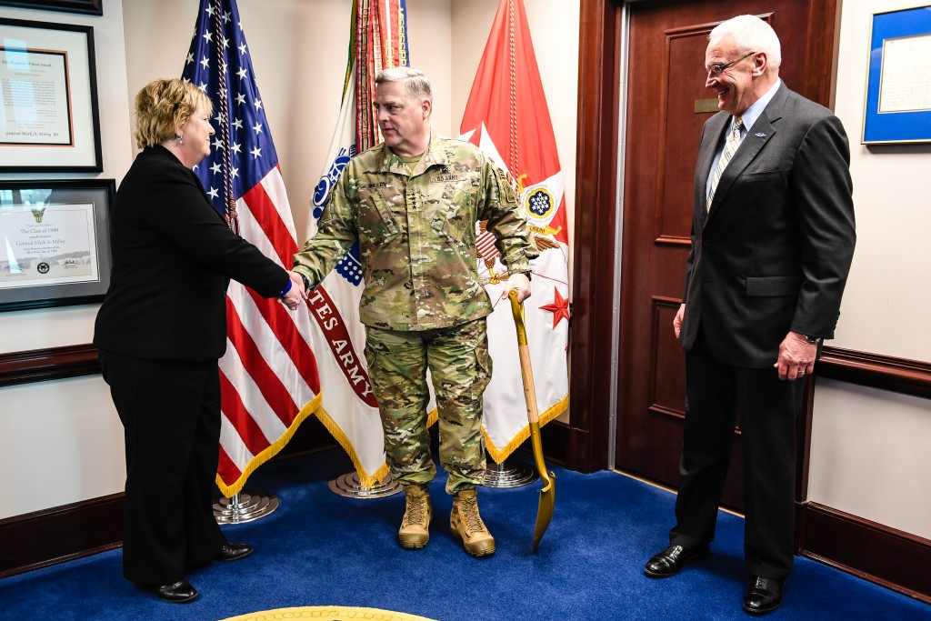 From left, Ms. Tammy Call, the Director of the National Museum of the United States Army, U.S. Army Chief of Staff Gen. Mark A. Milley, and retired Lt. Gen Roger Shultz, President of the Army Historical Foundation in the Pentagon, Arlington Va., Feb. 14, 2017. Call and Shutlz presented Gen. Milley with the shovel used at the groundbreaking ceremony for The National Museum of the United States Army. (U.S. Army photo by Sgt. Jamill Ford)