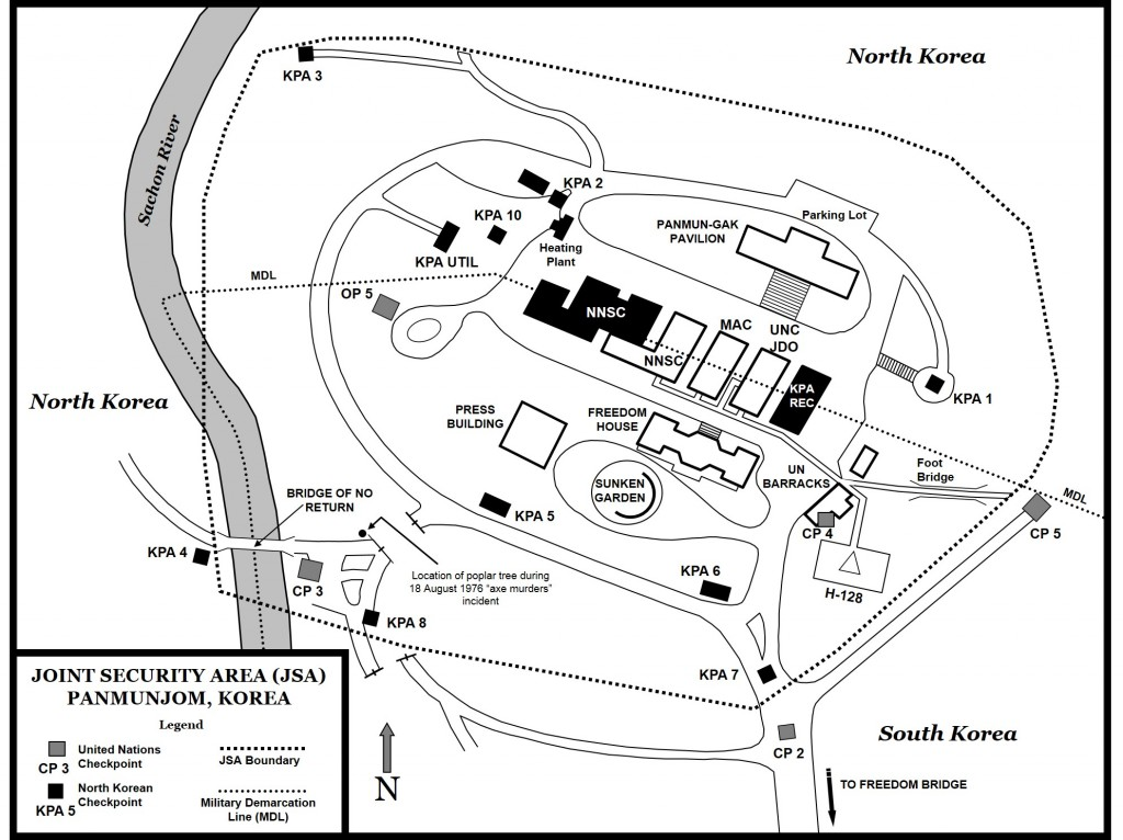 This map shows the JSA at Panmunjom in 1984. (Map by Steve Clay)