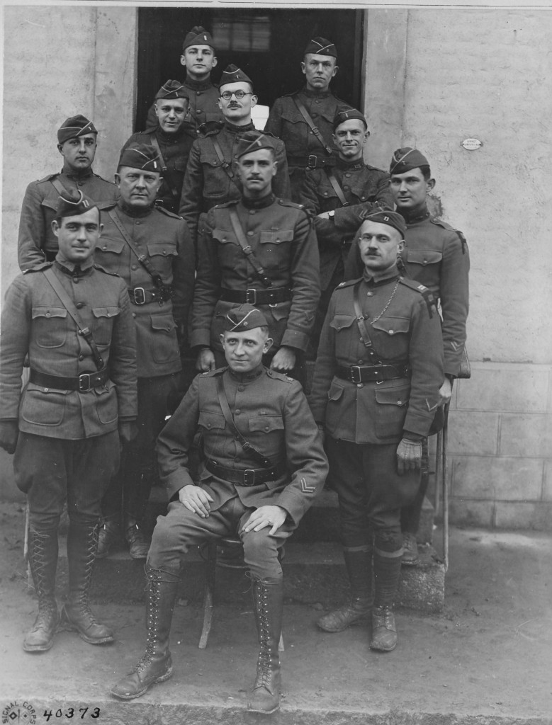 Officers of the American Expeditionary Forces' (AEF) Signal Corps Radio Section pose for a photograph in 1918.  The AEF Radio Section, commanded by Major Robert Loghry (seated) operated the AEF's signal collection facilities along the Western Front.  (National Archives)