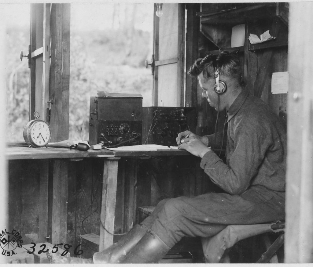 A soldier mans Field Intercept Station Number 1 at Souily, 18 June 1918. Field intercept (or radio intercept) stations collected coded messages transmitted by radio stations of German ground units. (National Archives)