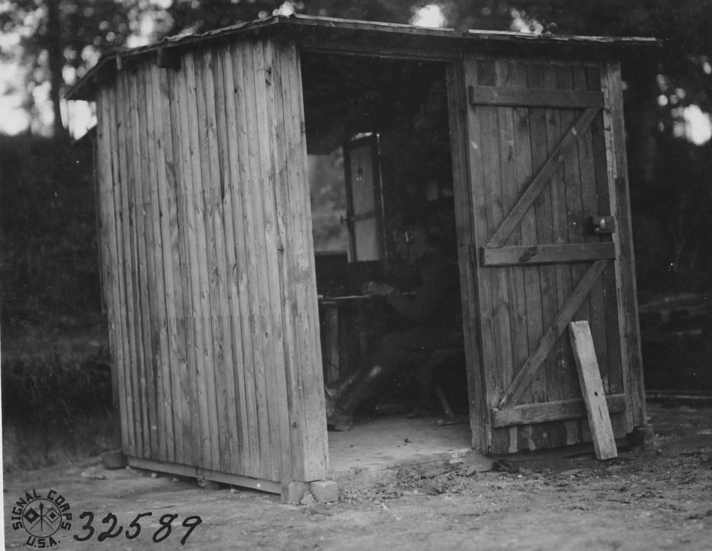 As shown by this exterior photograph of Field Intercept Station Number 1, many of the stations were housed in what was nothing more than a shack. (National Archives)