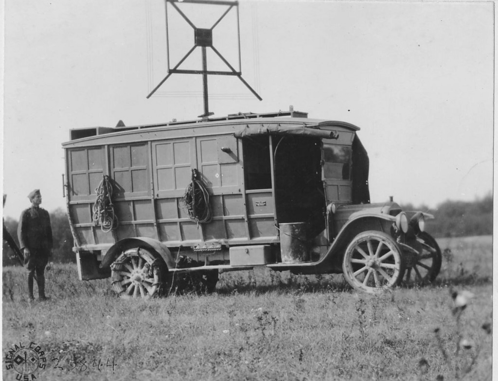 "In September 1918, the AEF began mounting equipment on vehicles (referred to them as ""tractors"") to provide the mobility required for a war of movement. This photograph shows a radio goniometric tractor near Verdun, 26 September 1918. Radio goniometric stations conducted direction finding against t enemy radio traffic. (National Archives)"