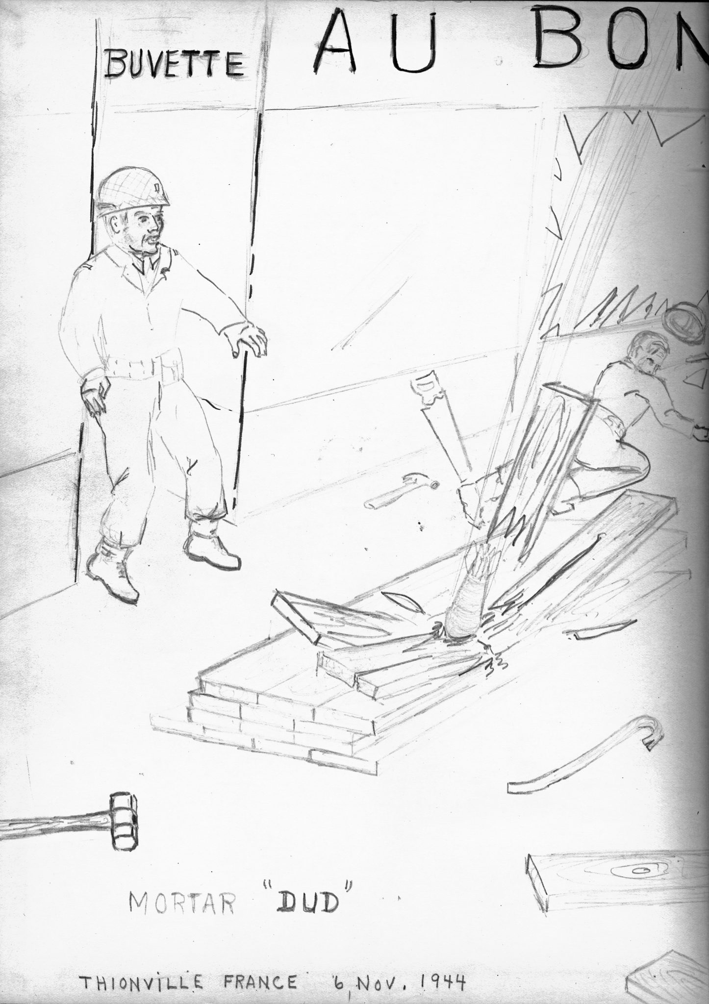 133d engineer bat battalion and one soldier s sketches of its Air Force Infantry a german mortar round surprises stesjkal and another soldier in thionville france in a sketch dated 6 november 1944 fortunately the round was a dud and